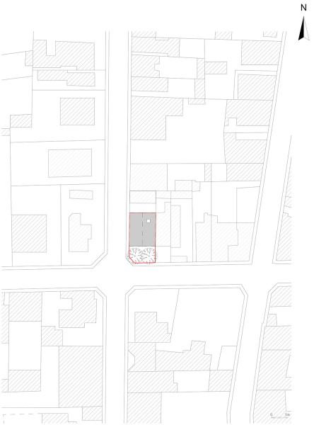 Maison des charmilles - plan masse 1/500° / © Justine Reverchon Architecte