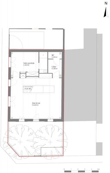 Maison des charmilles - plan RDC 1/100° / © Justine Reverchon Architecte