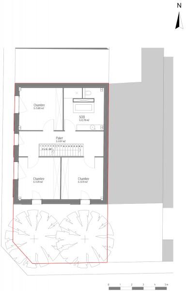 Maison des charmilles - plan R+1 1/100° / © Justine Reverchon Architecte