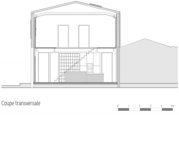 Maison des charmilles - Coupe 1/100° / © Justine Reverchon Architecte