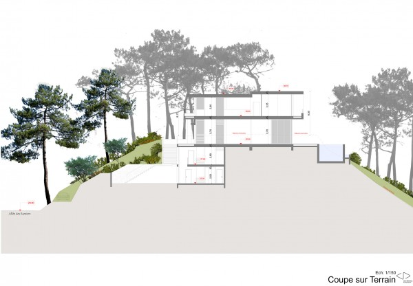 coupe longitudinale / Jean Dubrous Architecture