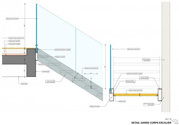 détail du garde corps intérieur / Jean Dubrous Architecture